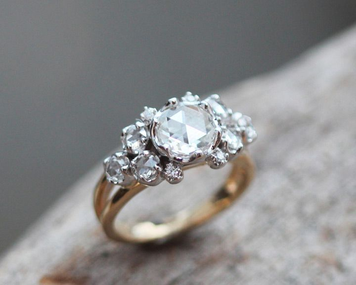 Crown ring in yellow gold with shimmering rose cut diamonds set in platinum by Liloveve ~ we ♥ this! moncheribridals.com