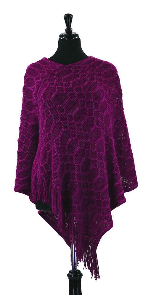 Knit Pattern Hexagon Sweater : Magenta Hexagon Pattern Open Knit Stitch Fringed Sweater ...