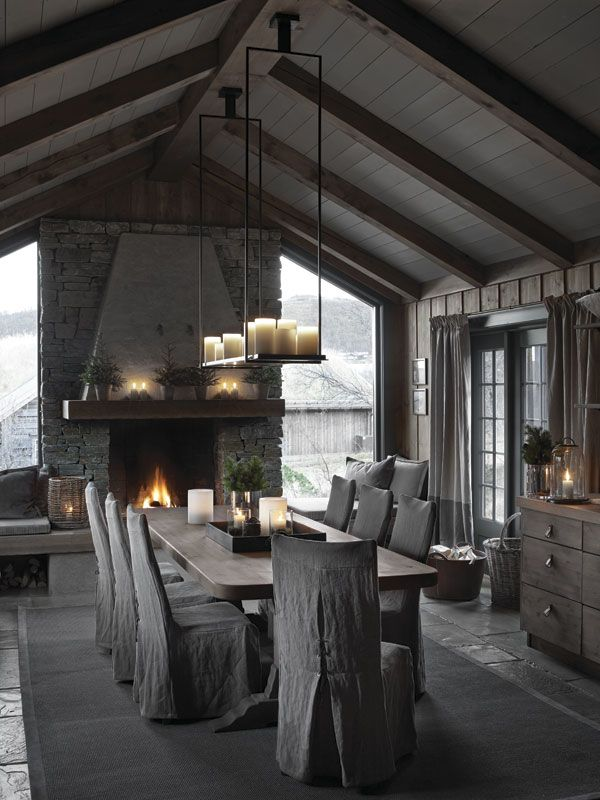 Fireplace, Vaulted ceiling, Windows on each side of fire place, Buffet credenza, French doors, Casual feel.
