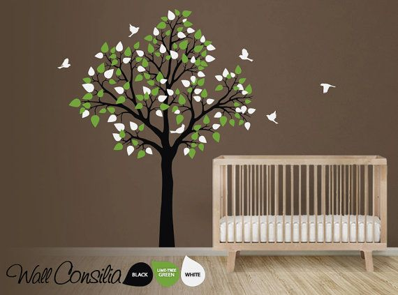 Baby nursery tree wall decal wall sticker tree wall for Baby nursery tree mural