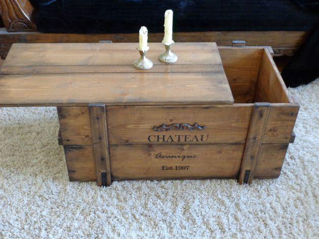 Truhen - Holztruhe Frachtkiste Couchtisch Vintage Retro NEU - ein Designerstück von Kistenjack bei DaWanda