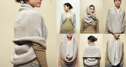 Very cool ways to wear an infinity/eternity scarf!