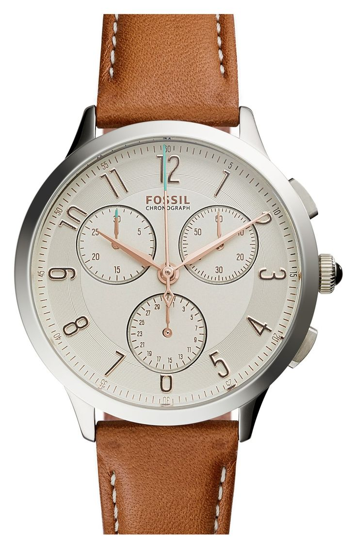 Fossil 'Abilene' Chronograph Leather Strap Watch, 34mm