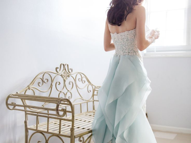 Fancy Stunning pale blue Oscar de la Renta gown accented with white lace detail Look at those elegant ruffles