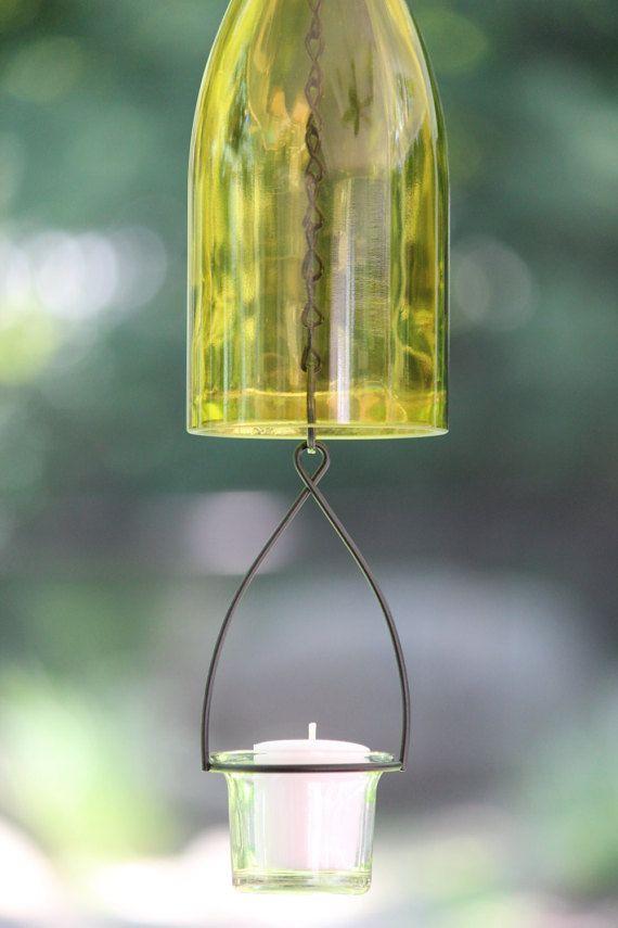 Hanging Wine Bottle Hurricane Lantern Candle by WinelessCreations