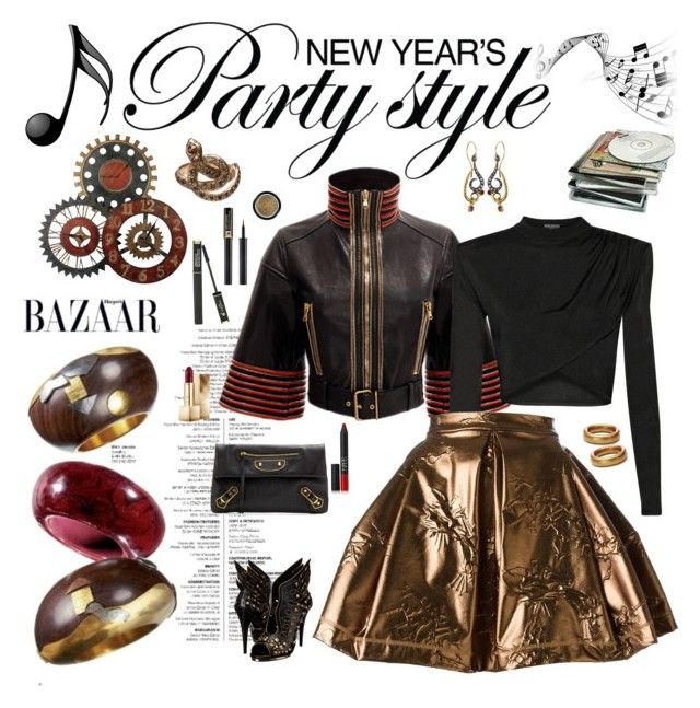 """""""Golden girl - New Year's Party"""" by riquee ❤ liked on Polyvore featuring Alexander McQueen, Balmain, Kenzo, Balenciaga, Elsa Peretti, Annie Fensterstock, Burberry, NARS Cosmetics, Lancôme and Armani Beauty"""