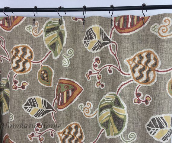 Brown Shower Curtain Leaf Shower Curtain Fabric Shower Curtain Etsy Fabric Shower Curtains Custom Shower Curtains Long Shower Curtains