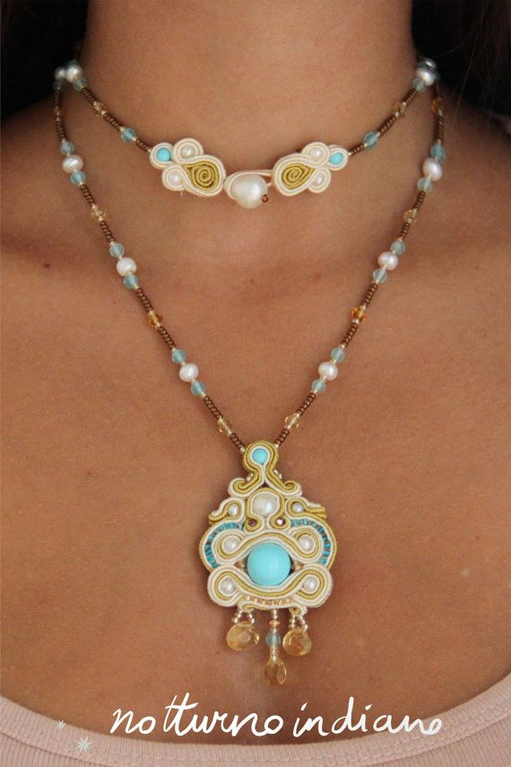 Handmade soutache necklace with turquoise