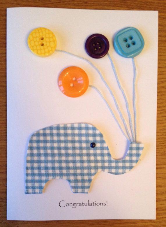 Button art Congratulations card handmade on Etsy, £4.00