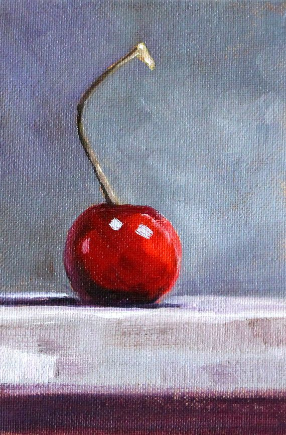 Marvelous Cherry Fruit Painting Small 4x6 Still Life Oil By Smallimpressions