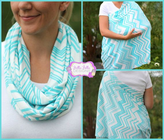 Skinny Aqua Chevron Hold Me Close Nursing Scarf - Nursing Cover, Infinity Scarf, Infinity Nursing Scarf I could totally make this