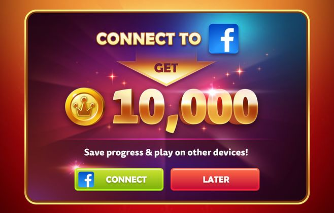 Mirrorball Slots - Facebook Connect dialog
