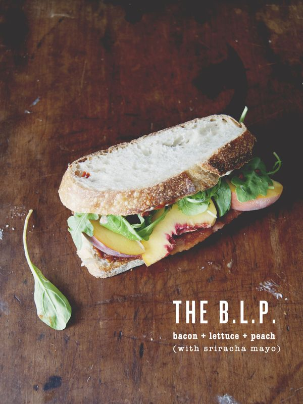 The BLP - Bacon, lettuce, peach sandwich with sririach mayo.  Try this with soy-based fake Canadian Bacon for health.