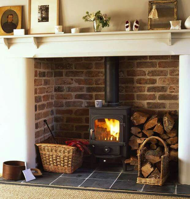 Fireplace with wood stove.