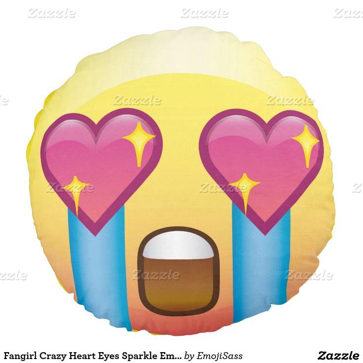 Fangirl Crazy Heart Eyes Sparkle Emoji Postage Round Pillow