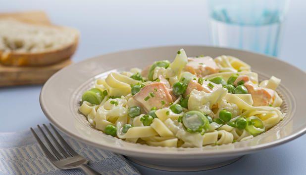 Barn liker både pasta oglaks, så pastalaks blir noken rett som faller i smak. Den er også rask og enkelå lage, så dette blir enoppskrift du helt sikkertvil prøve igjen.