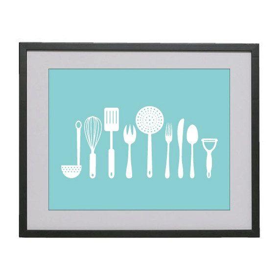 11x14 Kitchen Tools digital modern art print in ocean by bellabyte, $19.99