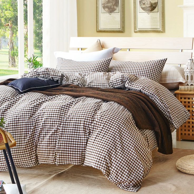 Gray plaid comforter set for single or double bed 100% Cotton bedcover Plaid bedding set (duvet cover+sheet+pillowcase)