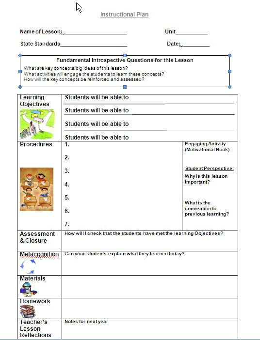 Best Lesson Plan Template Images On   Teaching Ideas