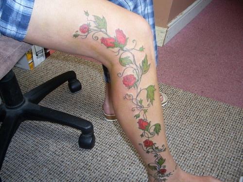 rose vine tattoos | Rose Vine On Leg Step 2 Tattoo Picture ...