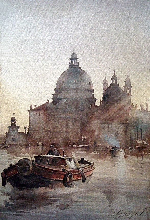 Dusan Djukaric  lives and works in Belgrade.  Very respected and esteemed master of watercolor painting, who dominates the atmosphere of the painting with ease, equally successful in all motifs: city and genre scenes, marines, nudes, landscapes. He paints the world and events around us, introducing us to the great mystery of watercolor painting, the most difficult panting discipline.