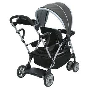 The Graco® RoomFor2 is ideal for walking and running errands with two children, with front and rear seats that each hold a child up to 50 pounds. This double stroller's front seat features a multi-position recline, which can be placed in a fully flat position for naptime. This sit and stand stroller's rear bench seat, perfect for your older child, is padded for comfort. As a fun alternative, he or she can opt to stand on the sturdy platform. Also suitable for infants, this do...