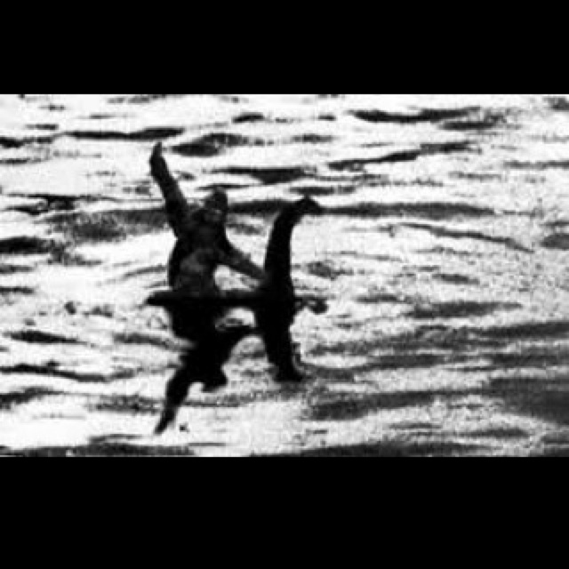 Squatch and Nessie, just hangin' out.