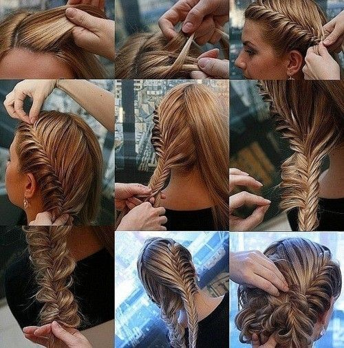 french braid/fishtail braid updo