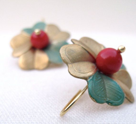 Vintage hand aged metal flower earrings with red coral by iomiss, $23.00