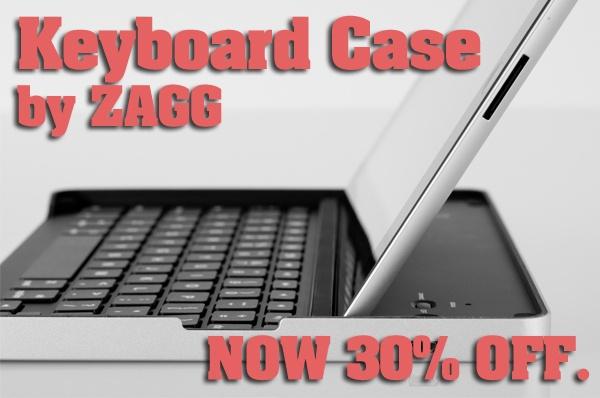 Now 30% off: Logitech Keyboard Case by ZAGG.  I love ZAGG stuff!