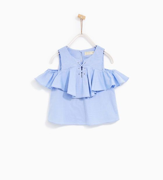 ZARA - KIDS - TOP WITH RUFFLED SHOULDERS