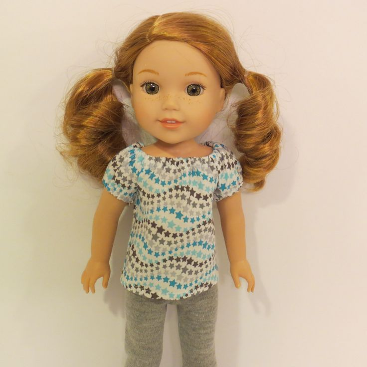 """Aqua and Grey Peasant Top and Grey Leggings - Made to fit 14.5"""" Wellie Wisher dolls by TheTinyDressingRoom on Etsy https://www.etsy.com/listing/478401642/aqua-and-grey-peasant-top-and-grey"""