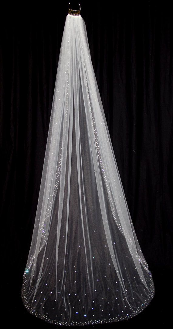 Bridal Veil with Crystal Edge and Scattered Crystals by pureblooms