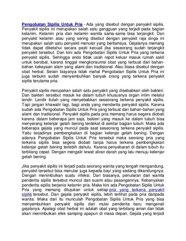 Pengobatan Sipilis aman manjur alami tradisional yang di racik dari denature indonesia aman dan ampuh mengobati sipilis atau raja singa Hubungi Kami - Xl : 087803680585 - Pin: 53289376 - Trii (Whatsapp And Line) +6289686160808 - Indosat :085647790265