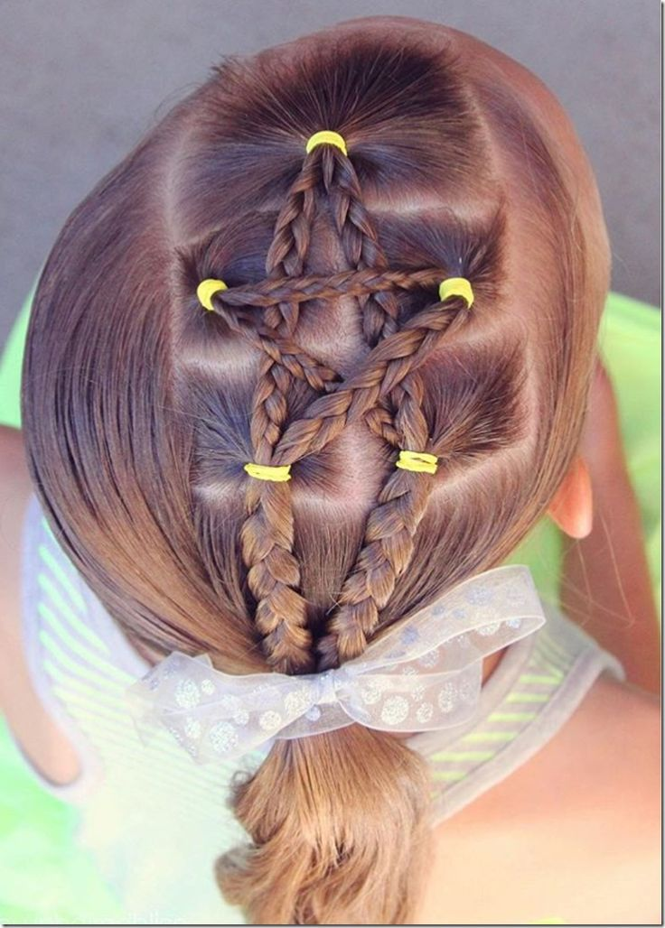 nice Cute And Easy Fourth Of July Hairstyles With Patriotic Star Braids