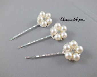 Bridal hair pin Silver gold fascinator Wedding hair by Element4you