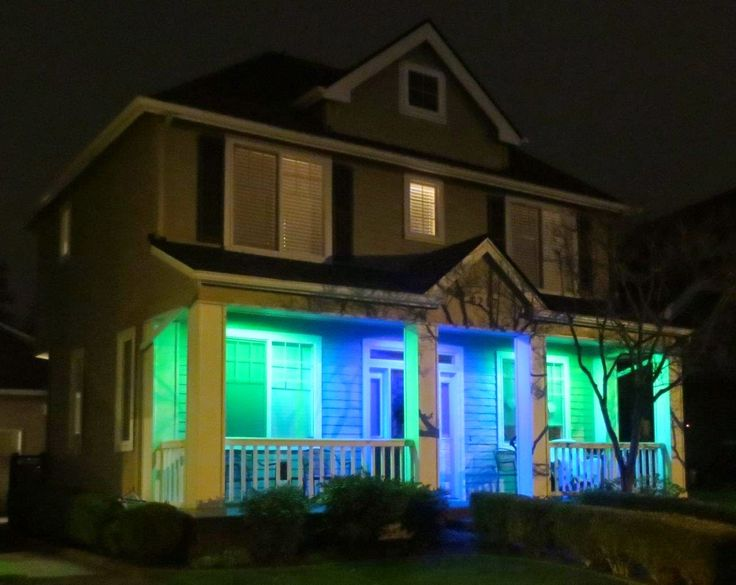 Seahawks at Night. Houses on my streets are ready for the big game tomorrow against the New England Patriots. Go Hawks!