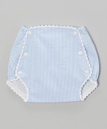 Take a look at this Blue & White Seersucker Scallop Diaper Cover - Infant & Toddler by Olivia and Owen on #zulily today!