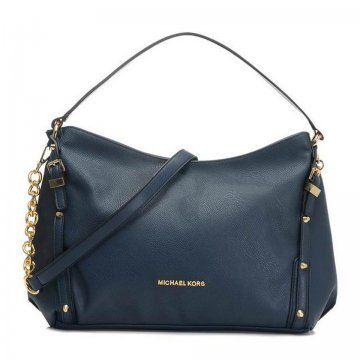 Wholesale Michael Kors handbags outlet Online for sale - Off Michael Kors  Leigh Stud Large Navy Shoulder Bag -