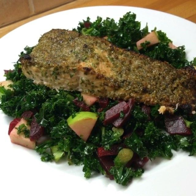 Give this low carb High fat hero meal a go. It's my walnut and parsley coated salmon with kale and beetroot salad  It's #Leanin15  #foodie #fitspo #food #instacook