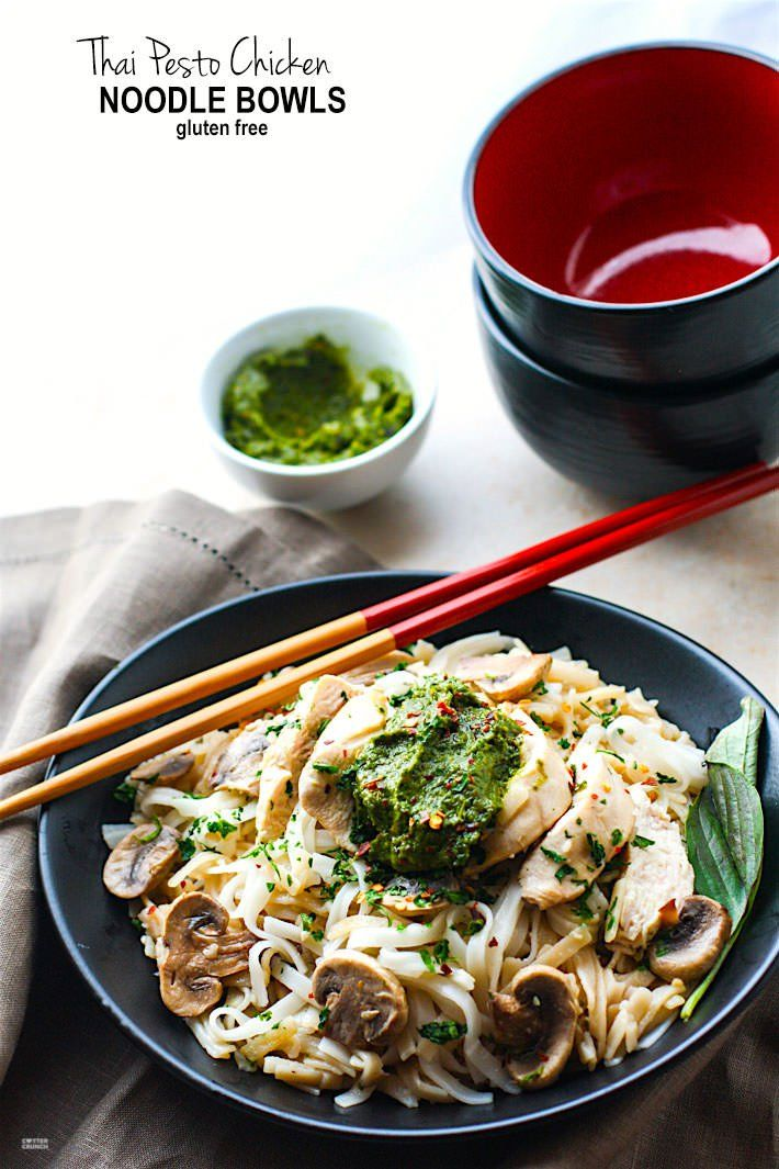 Spicy Thai Pesto Chicken Noodle Bowls! These gluten free noodles bowls are delicious and easy to make! The thai pesto bring a kick of flavor and a dose of Healthy antioxidants! A dairy free dinner that's ready in less than 45 minutes and great for a hungry crew!
