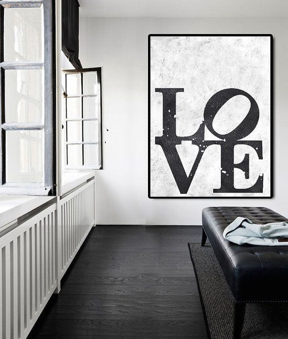 Abstract Painting On Canvas, Vertical Painting Canvas Art, Black And White Extra Large Wall Art. Love, Handmade.