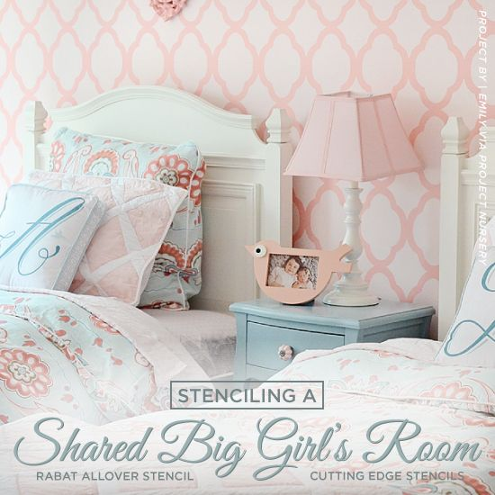 A Stenciled and Stylish Shared Girl's Bedroom Happy Friday, my DIY mamas! We're curious how many of you have kids that share a bedroom? It's a common situation when you have multiple kids. With two beds and twice as many clothes, it's easy to think that you have to throw in t