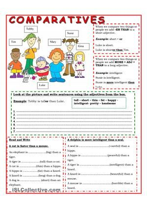 In this worksheet you will find an easy explanation of comparative with short and long adjectives, and then some easy exercises - ESL worksheets