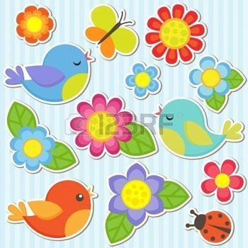 Resultado de imagen para imagenes infantiles para pintar pajaritos flores y mariposas