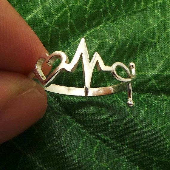 Nurse Heart Beat Stethoscope Ring designed for nurses. National Doctors Day Gift Ideas. The necklace version is here: https://www.etsy.com/listing/270301326/nurse-heart-beat-stethoscope-necklace?ref=listings_manager_table Base Material: 925 Sterling Silver Depth: 10mm (Approximately) For: Women / Nurse Ring Size: US 4 - US 16 (Default is US 7) Thickness: 1.5mm Handling Time: 5 - 7 working days If you need the item urgently, please contact us for Express Mail. There are extra cost ...