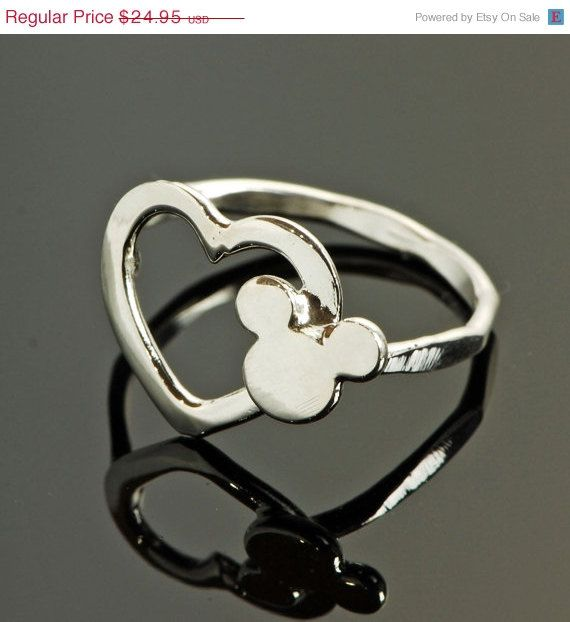 ON SALE Disney Ring - Mickey Mouse Argentium Sterling Silver Ring - Handmade. $19.96, via Etsy.