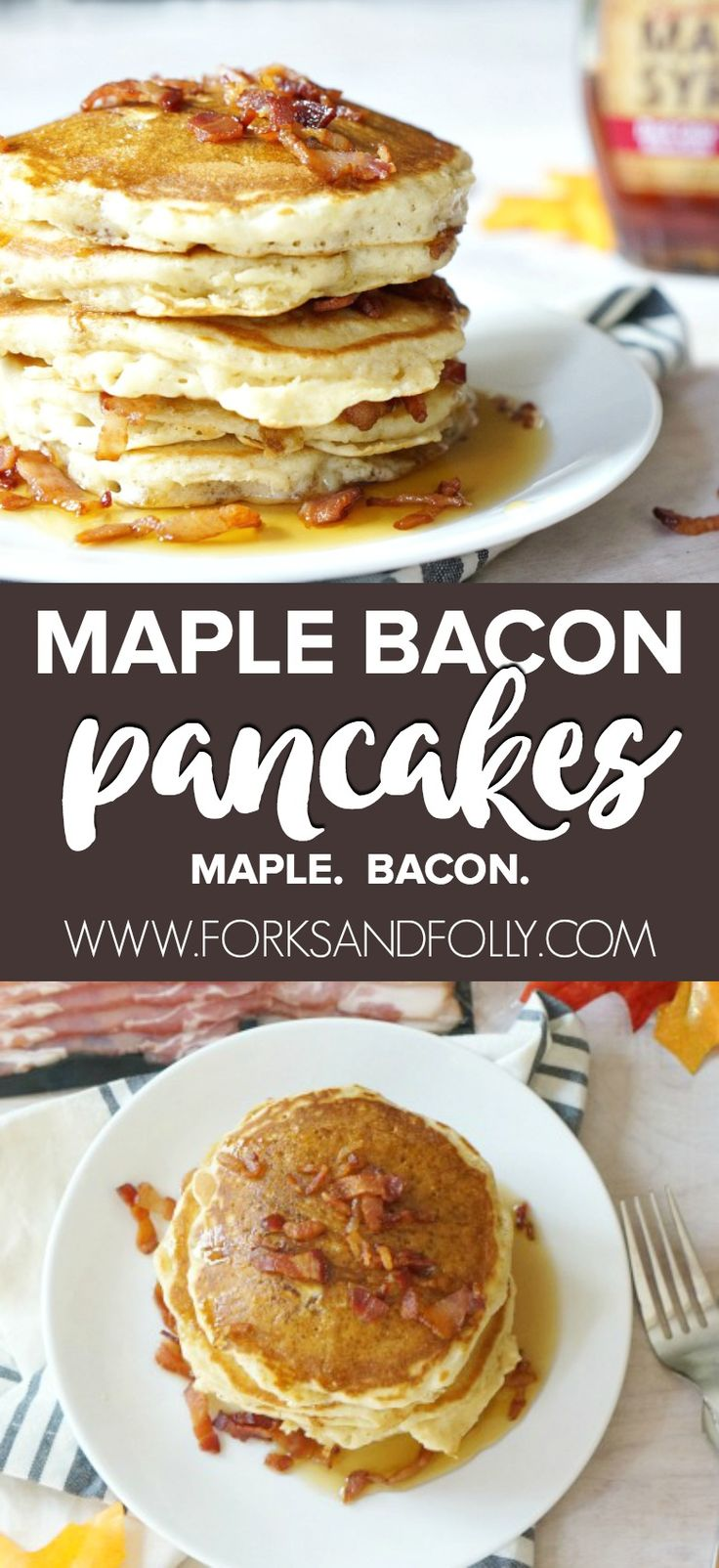 #AD  Not a breakfast person?  You haven't had our Maple Bacon Pancakes recipe! With bacon in the batter and sprinkled on top plus maple syrup throughout, THIS is the sweet-salty combo to start your day!