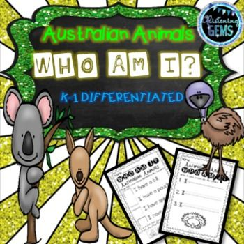 Australian Animals - Differentiated Who am I worksheets