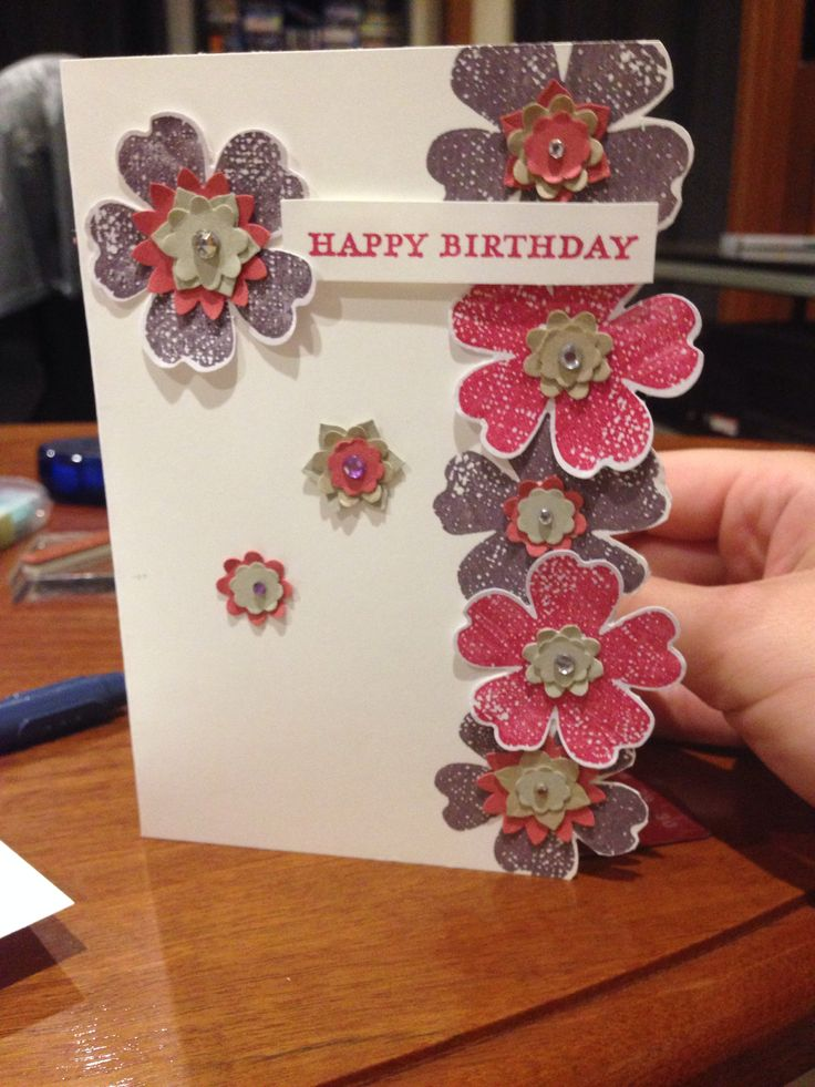 Birthday car for 90 year old grandma. Using flower shop stamp set